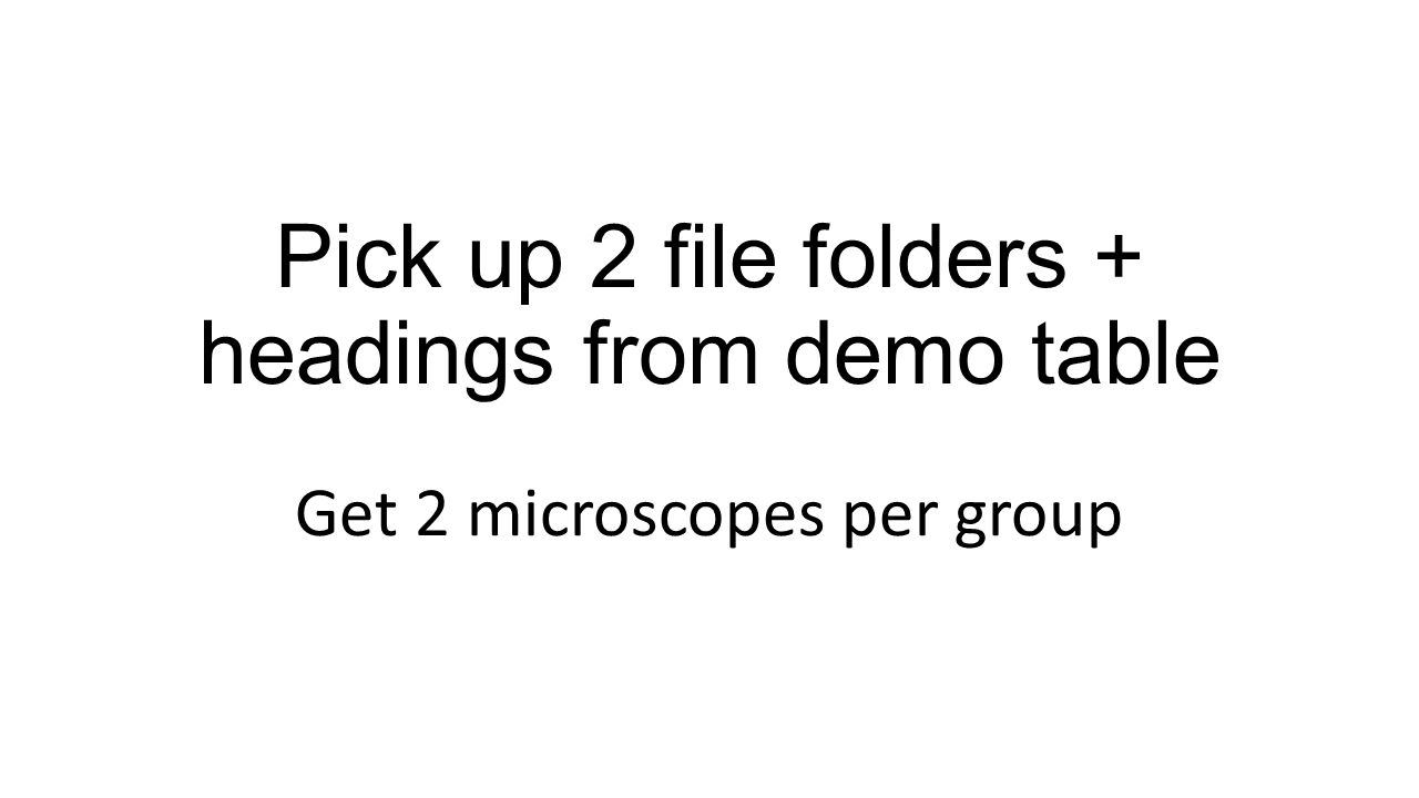 Pick up 2 file folders + headings from demo table