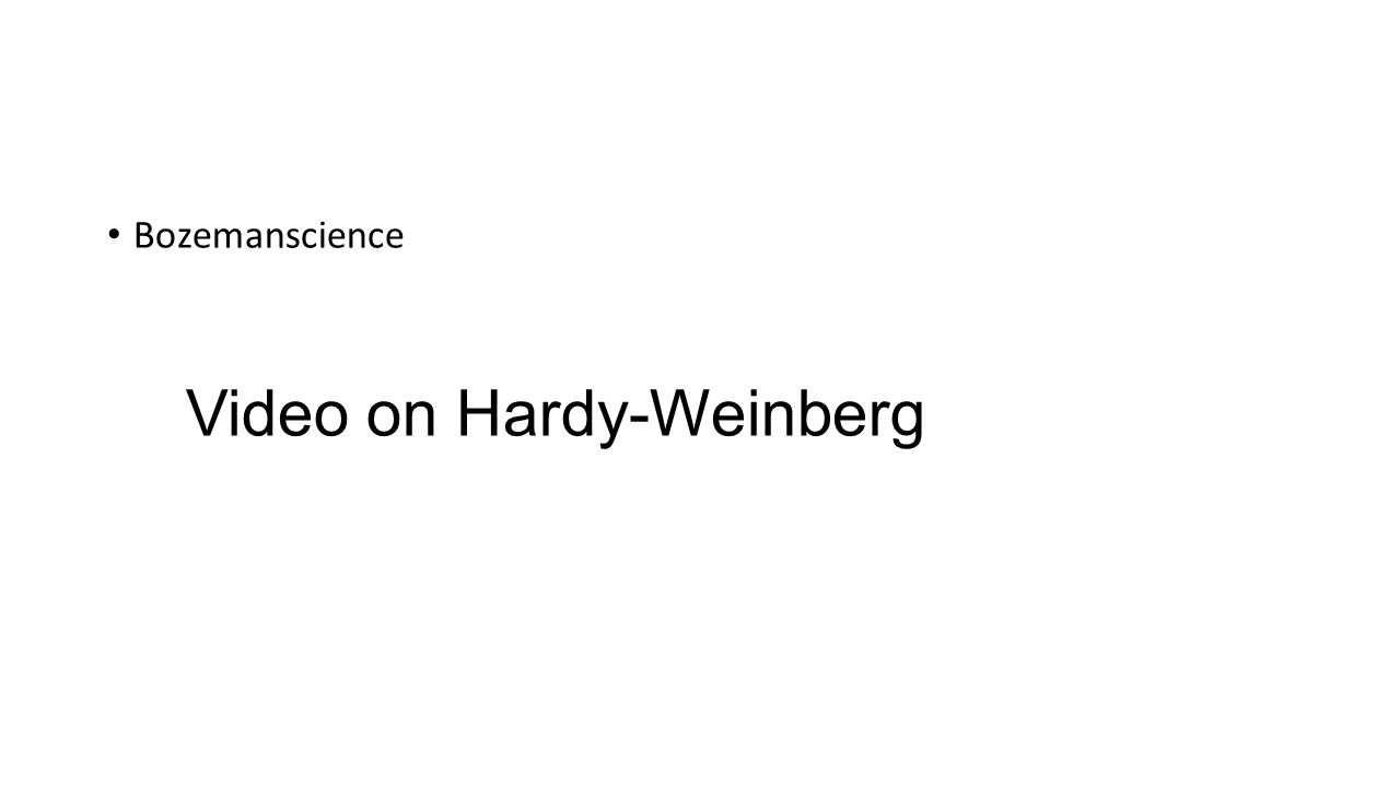Video on Hardy-Weinberg