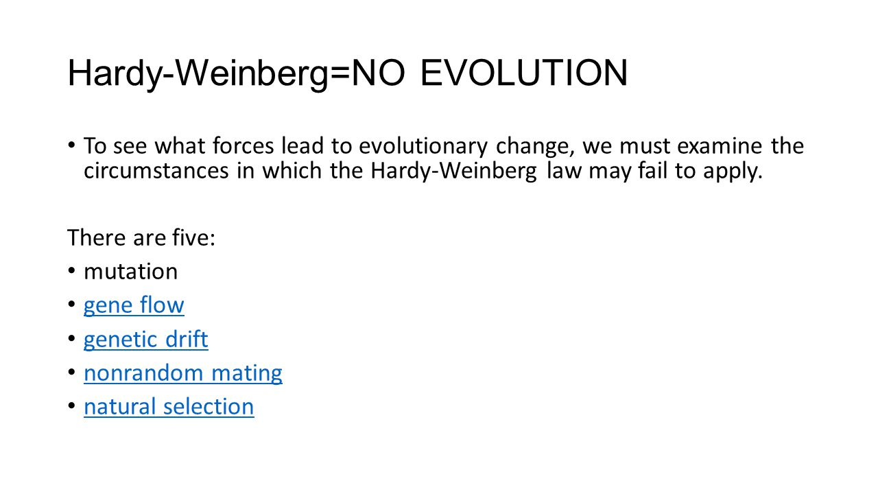 Hardy-Weinberg=NO EVOLUTION
