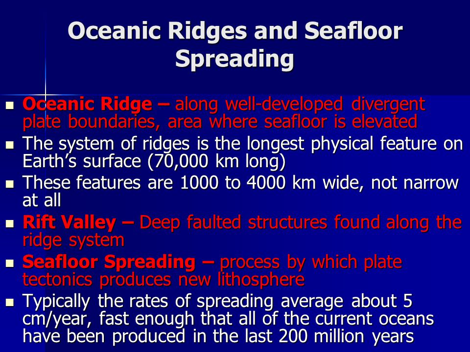 Oceanic Ridges and Seafloor Spreading