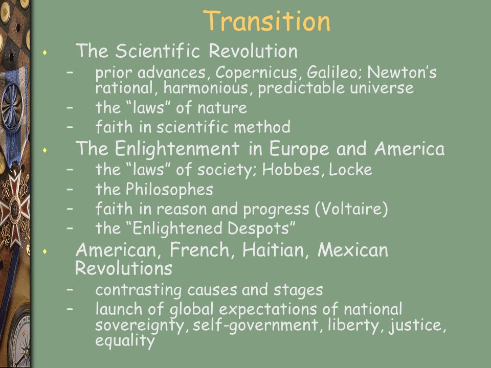 Transition The Scientific Revolution
