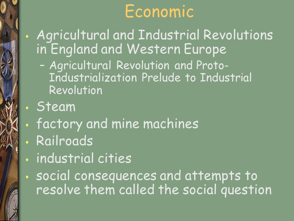 Economic Agricultural and Industrial Revolutions in England and Western Europe.