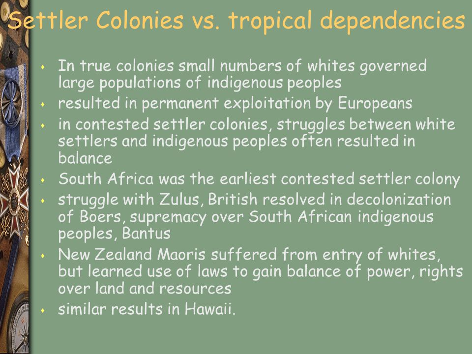 Settler Colonies vs. tropical dependencies