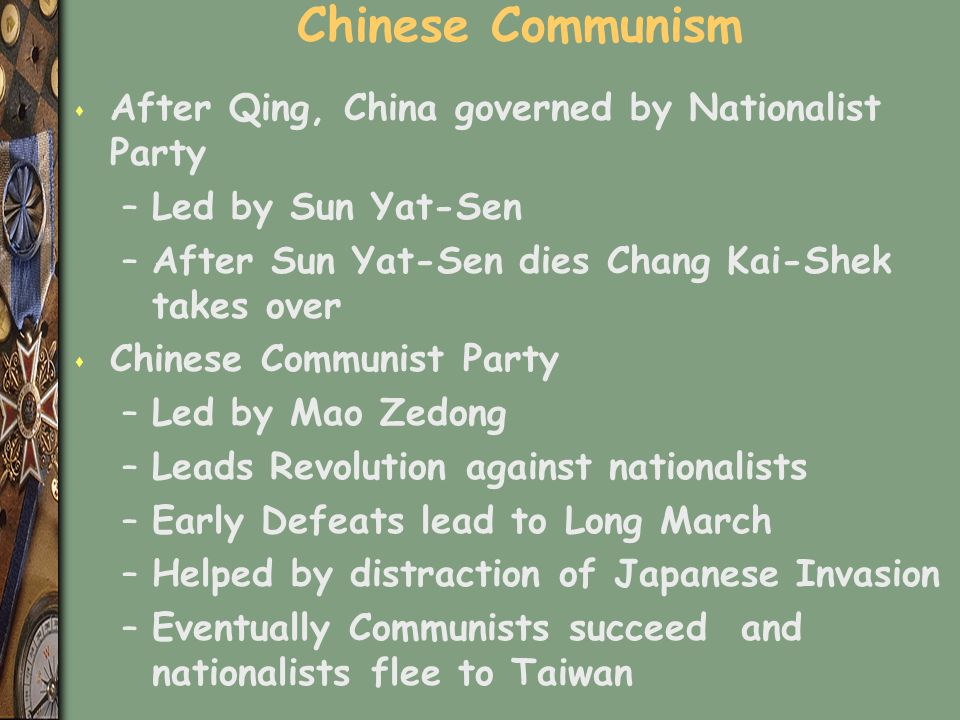 Chinese Communism After Qing, China governed by Nationalist Party