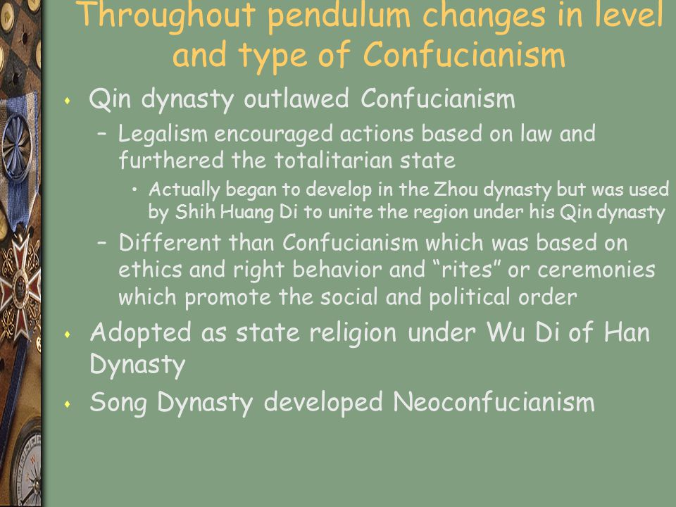 Throughout pendulum changes in level and type of Confucianism