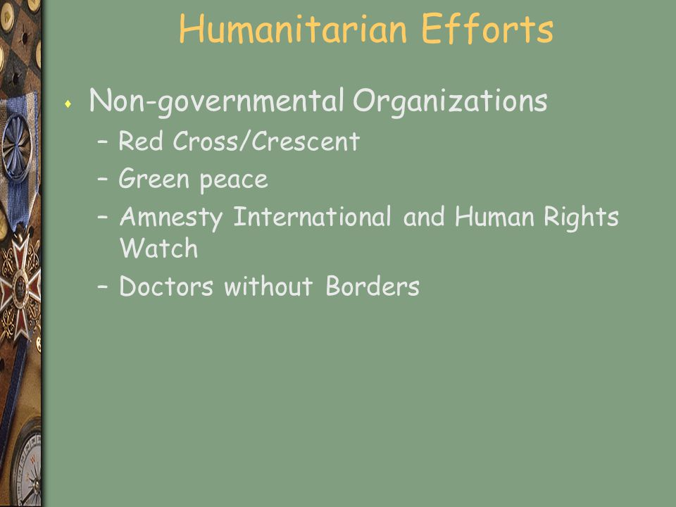 Humanitarian Efforts Non-governmental Organizations Red Cross/Crescent