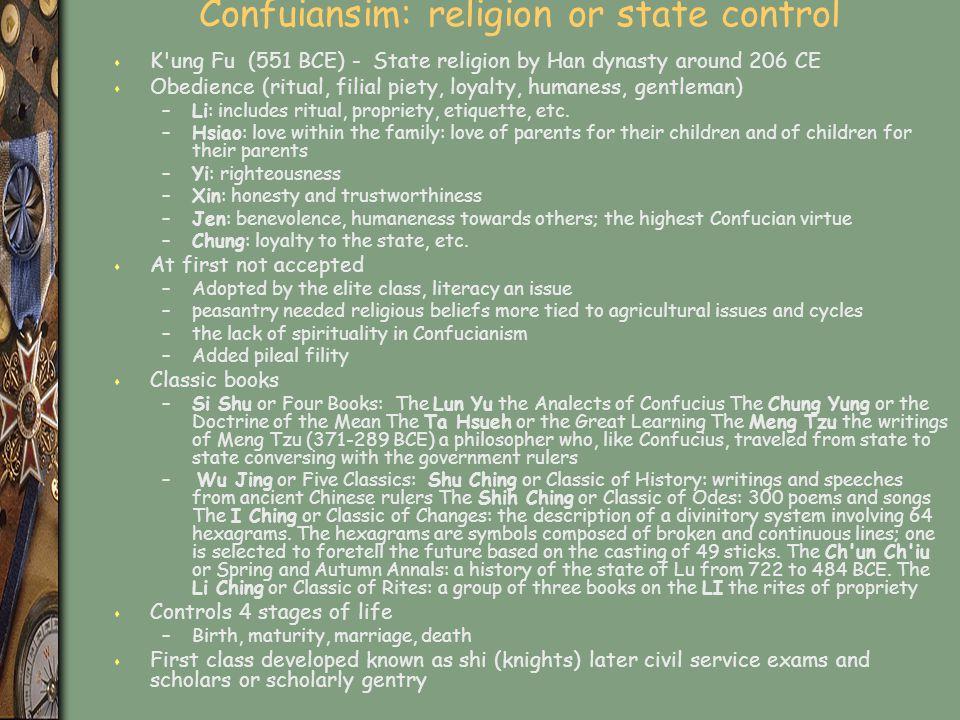 Confuiansim: religion or state control