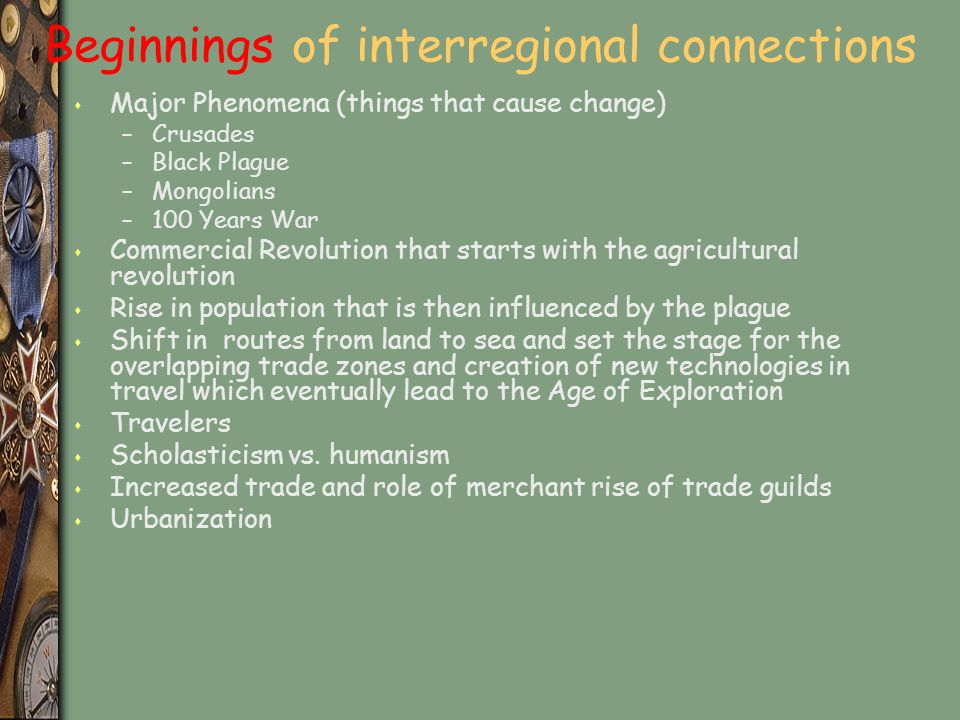Beginnings of interregional connections