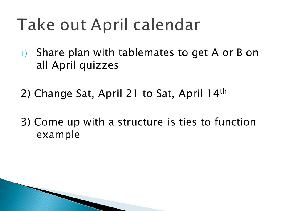 Take out April calendar