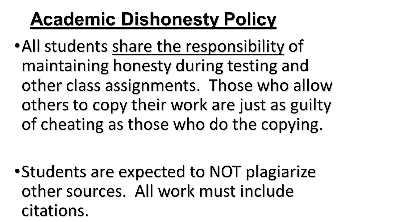 Academic Dishonesty Policy