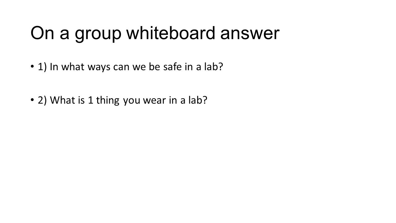 On a group whiteboard answer