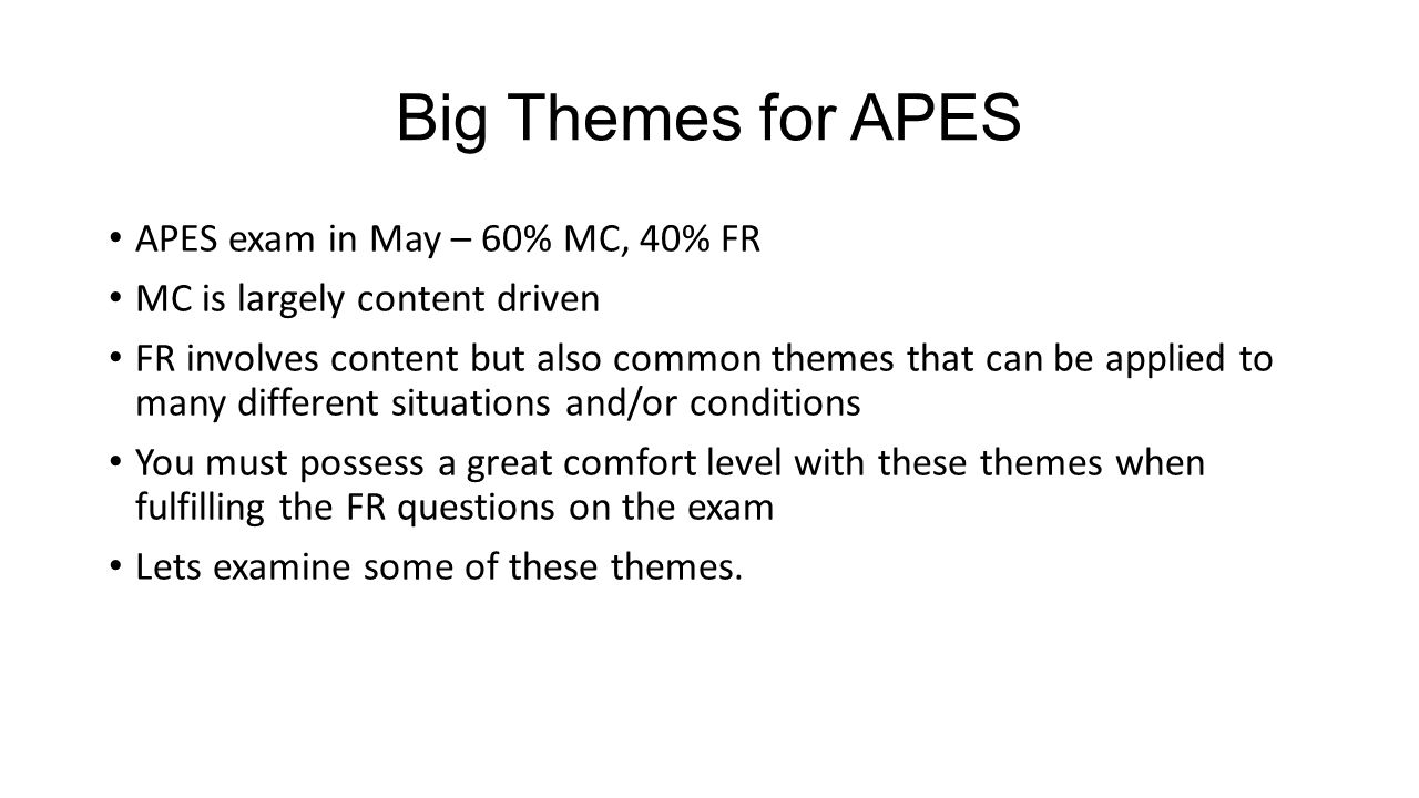 Big Themes for APES APES exam in May – 60% MC, 40% FR