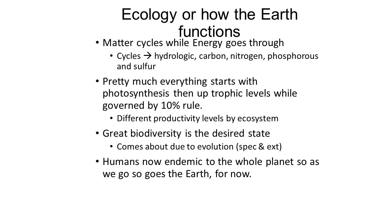 Ecology or how the Earth functions