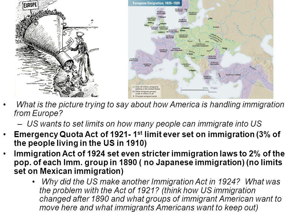 What is the picture trying to say about how America is handling immigration from Europe