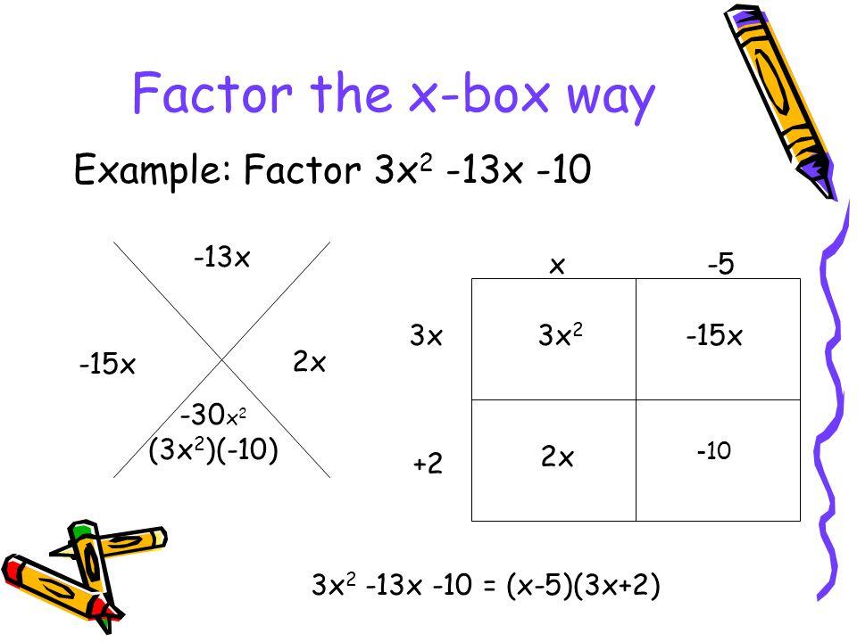 Factor the x-box way Example: Factor 3x2 -13x -10 -13x x -5 3x 3x2