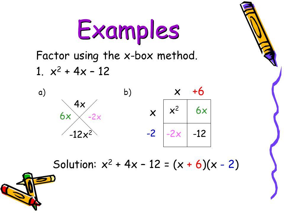 Examples Factor using the x-box method. 1. x2 + 4x – 12 x +6 x2 6x x