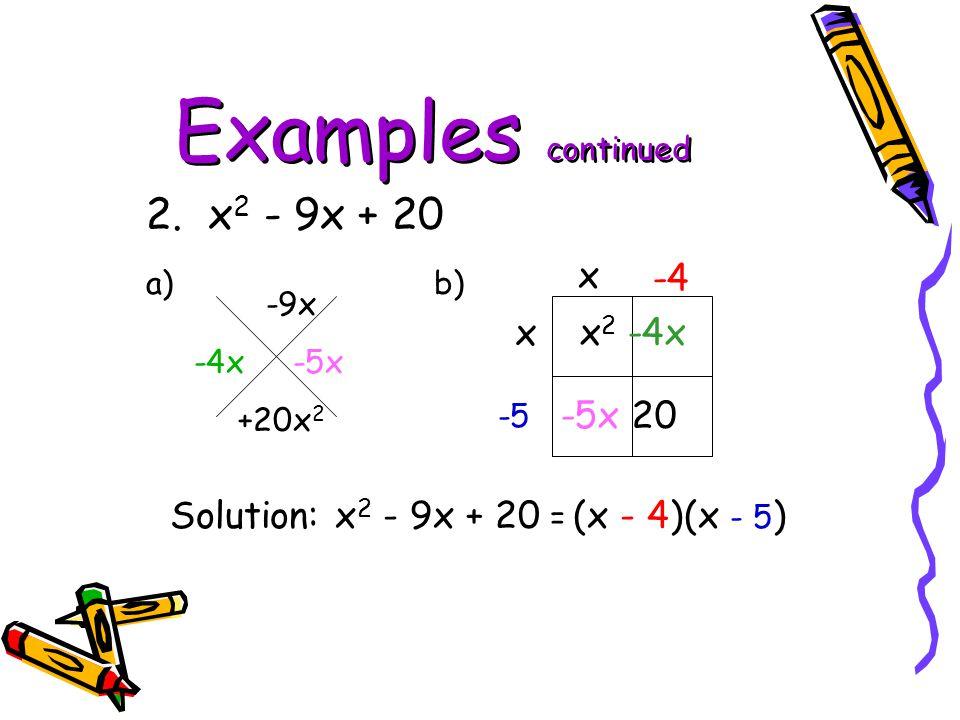 Examples continued 2. x2 - 9x + 20 x -4 x x2 -4x -5x 20