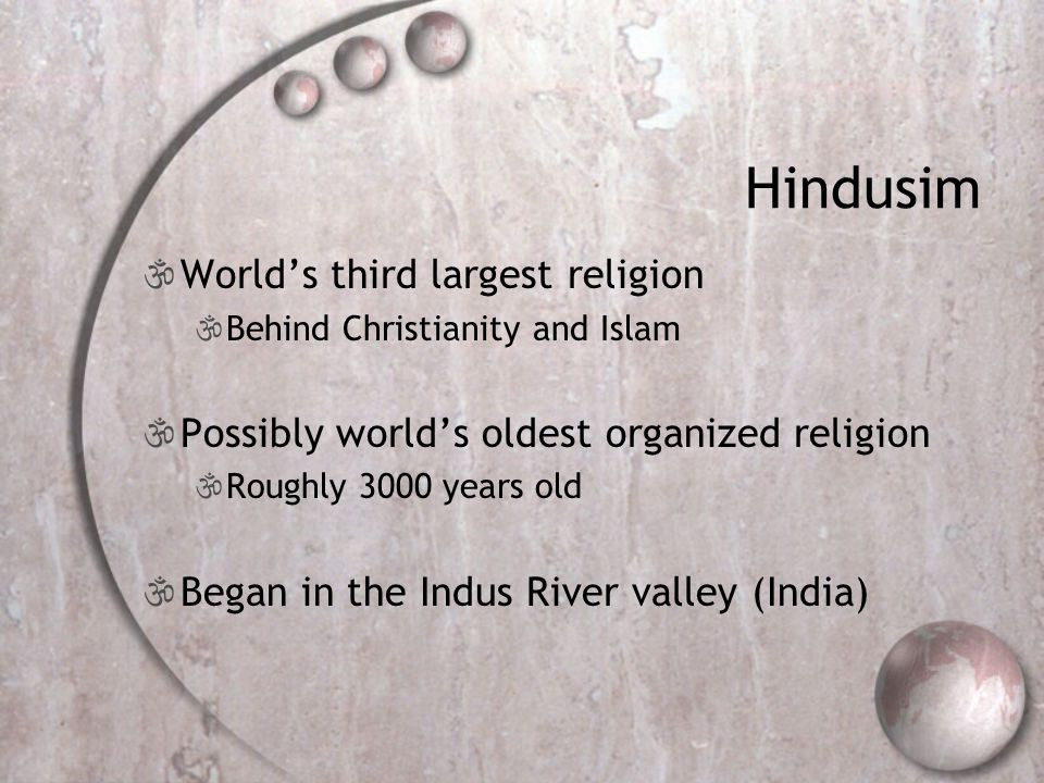 Hindusim World's third largest religion