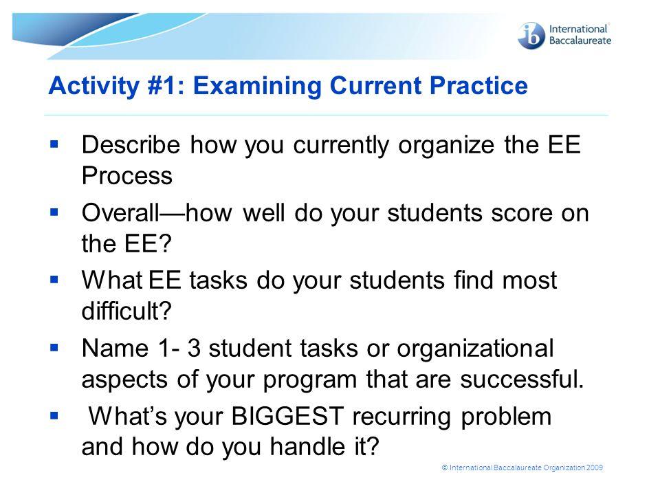 Activity #1: Examining Current Practice