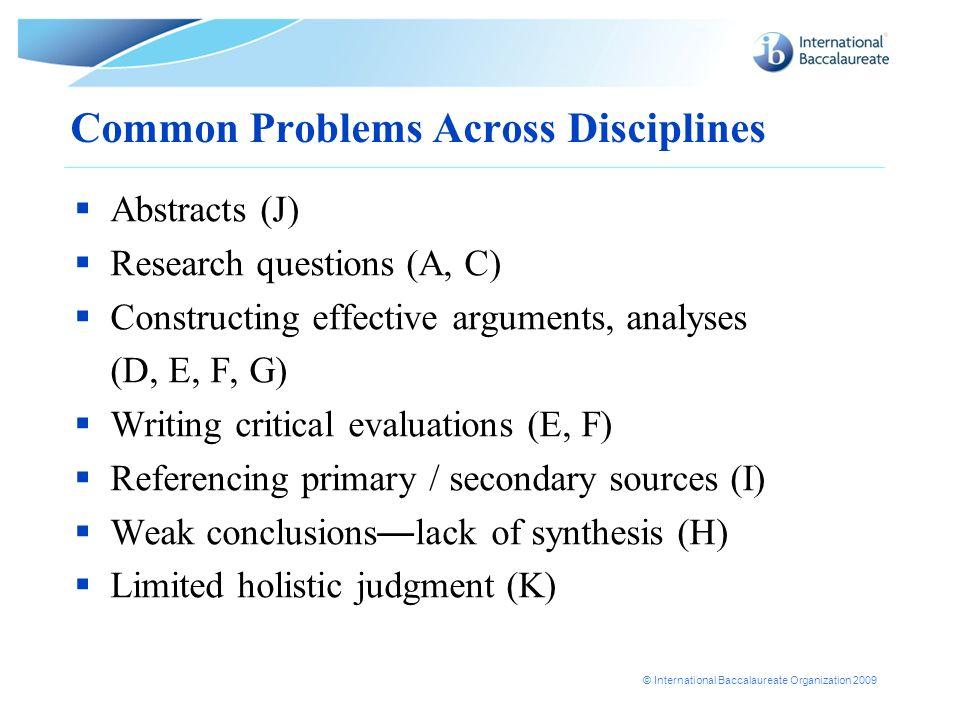 Common Problems Across Disciplines