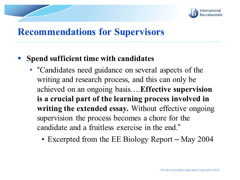 Recommendations for Supervisors