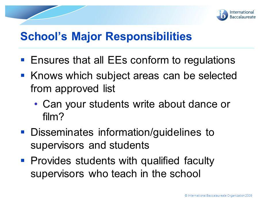 School's Major Responsibilities