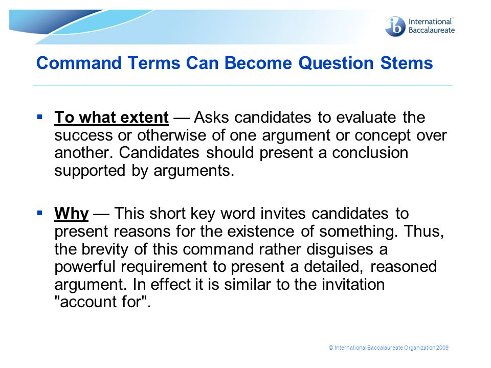 Command Terms Can Become Question Stems