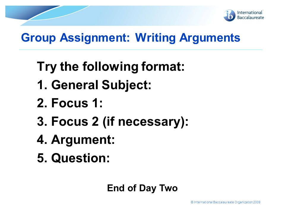 Group Assignment: Writing Arguments