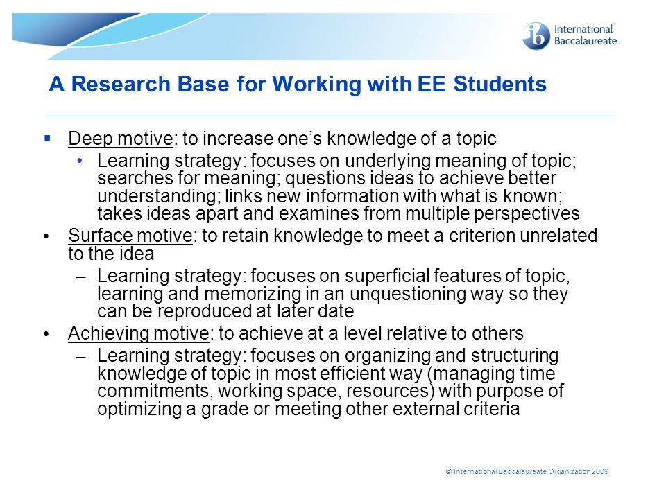 A Research Base for Working with EE Students