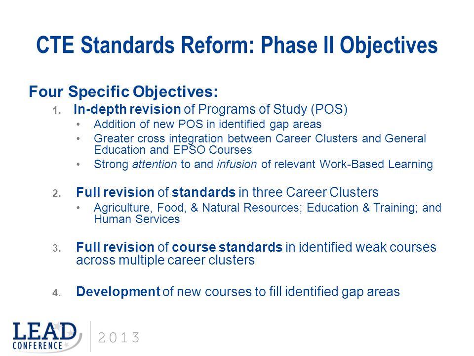 CTE Standards Reform: Phase II Objectives