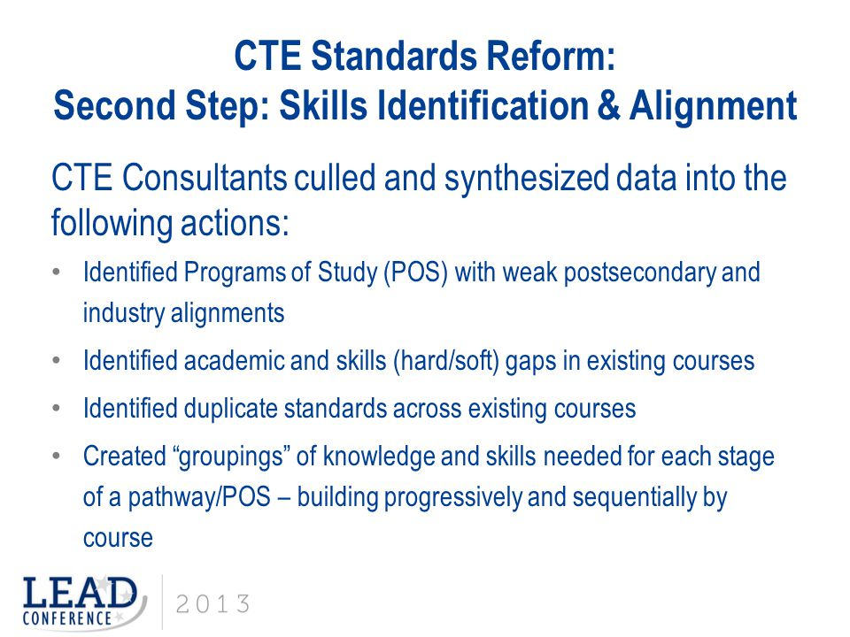 CTE Standards Reform: Second Step: Skills Identification & Alignment