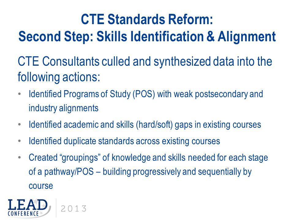CTE Standards Reform: Second Step: Skills Identification & Alignment