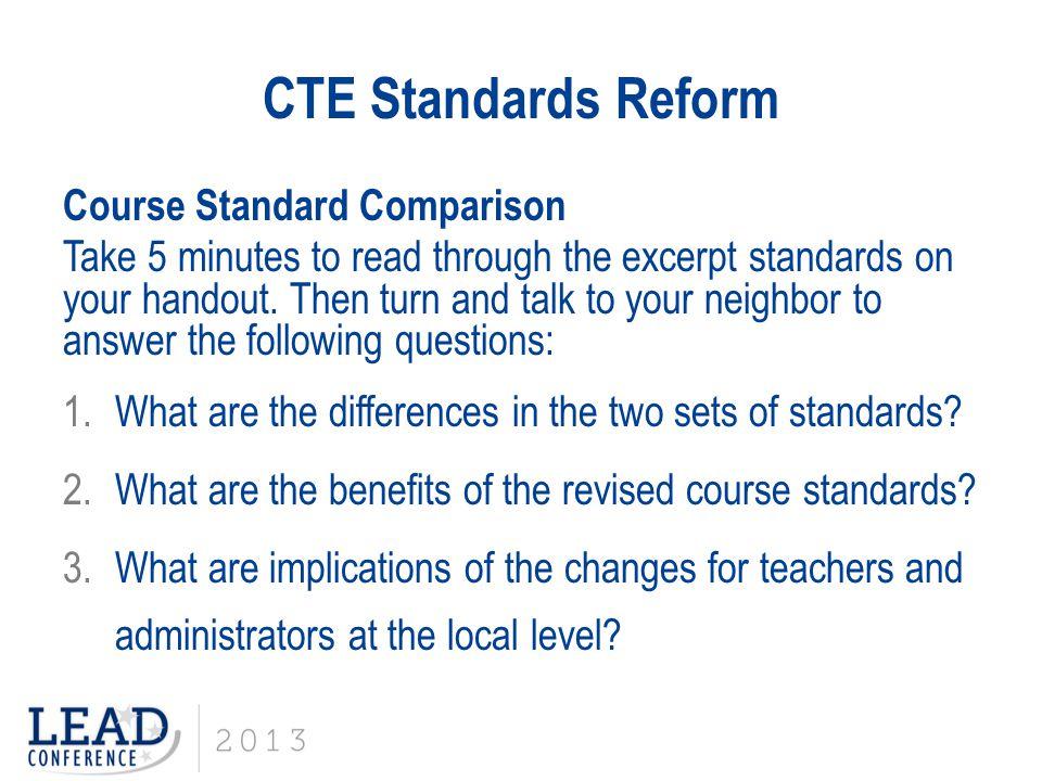 CTE Standards Reform Course Standard Comparison