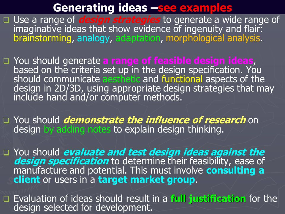 Generating ideas –see examples