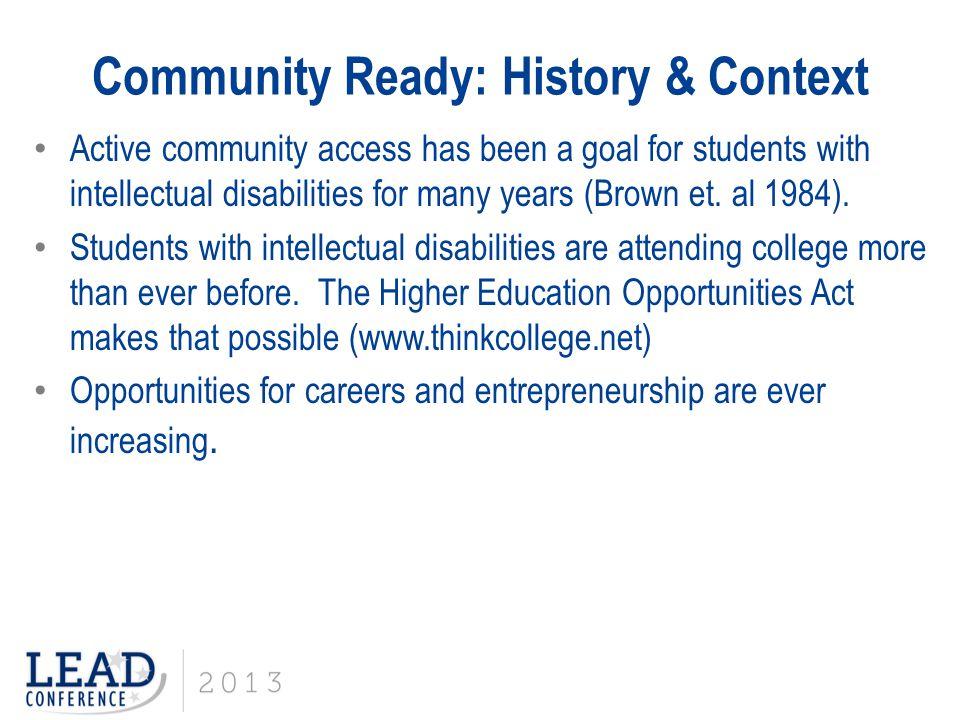 Community Ready: History & Context