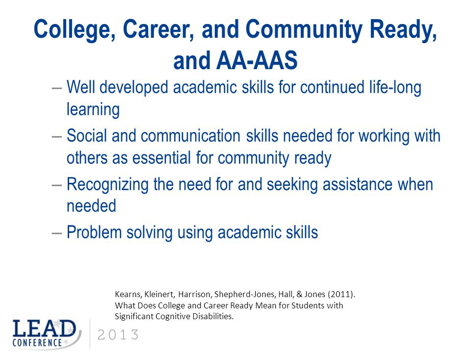 College, Career, and Community Ready, and AA-AAS