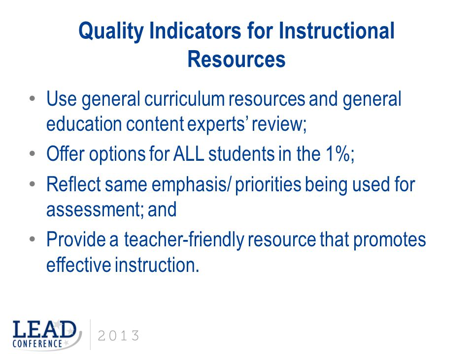 Quality Indicators for Instructional Resources