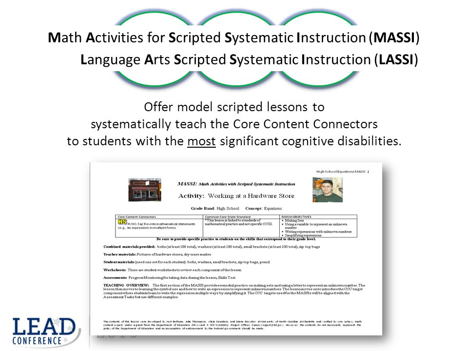 Math Activities for Scripted Systematic Instruction (MASSI)