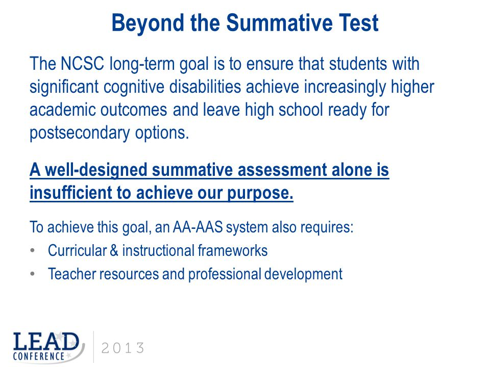 Beyond the Summative Test