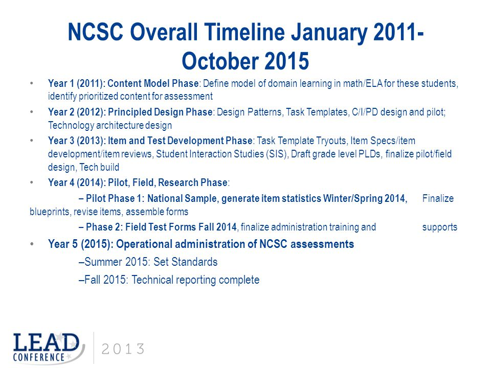 NCSC Overall Timeline January 2011-October 2015