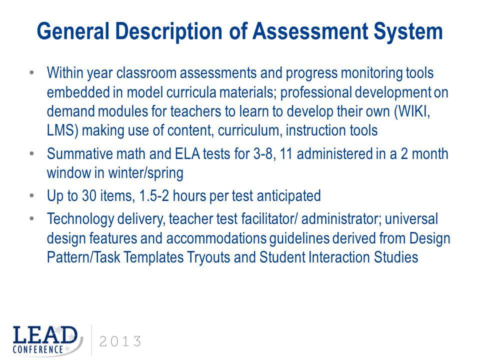 General Description of Assessment System