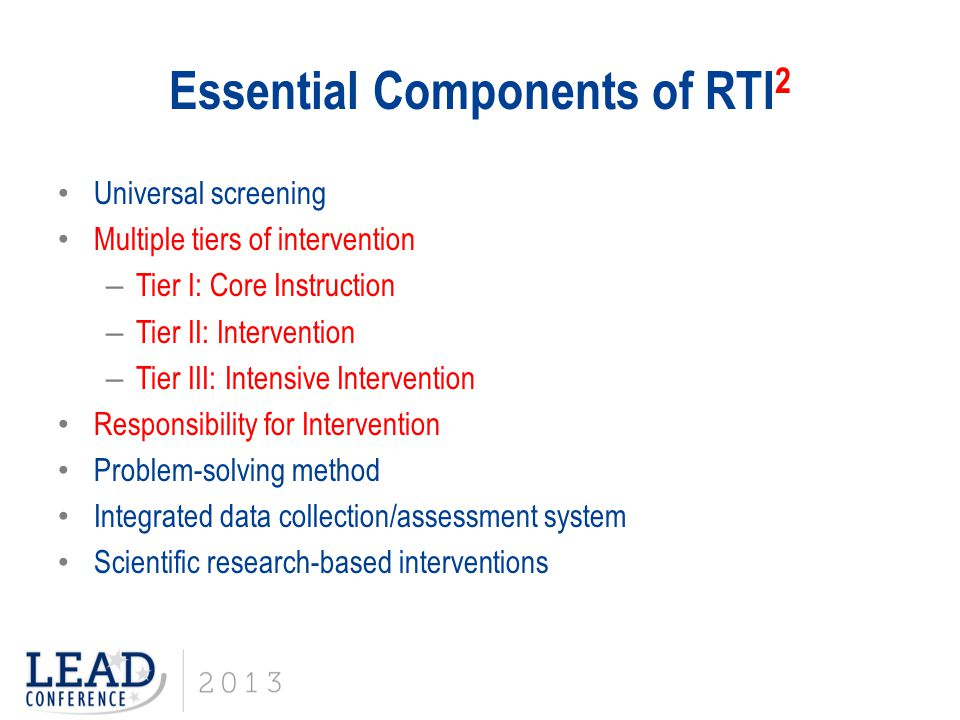 Essential Components of RTI2
