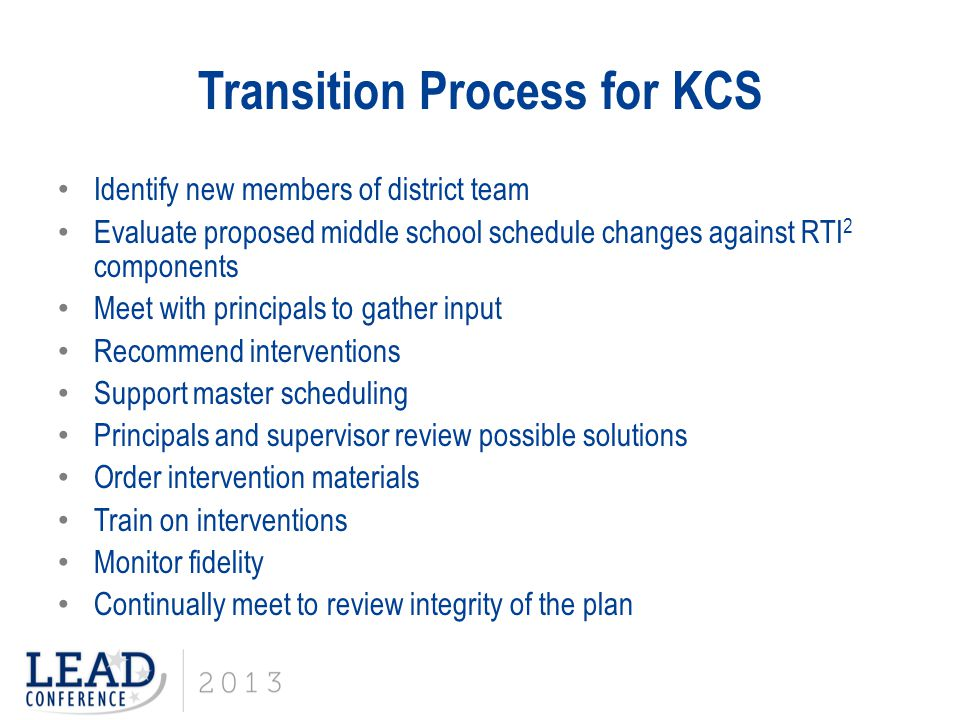 Transition Process for KCS