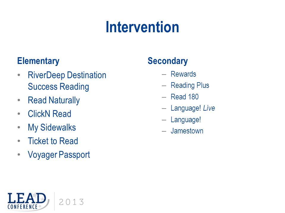 Intervention Elementary Secondary