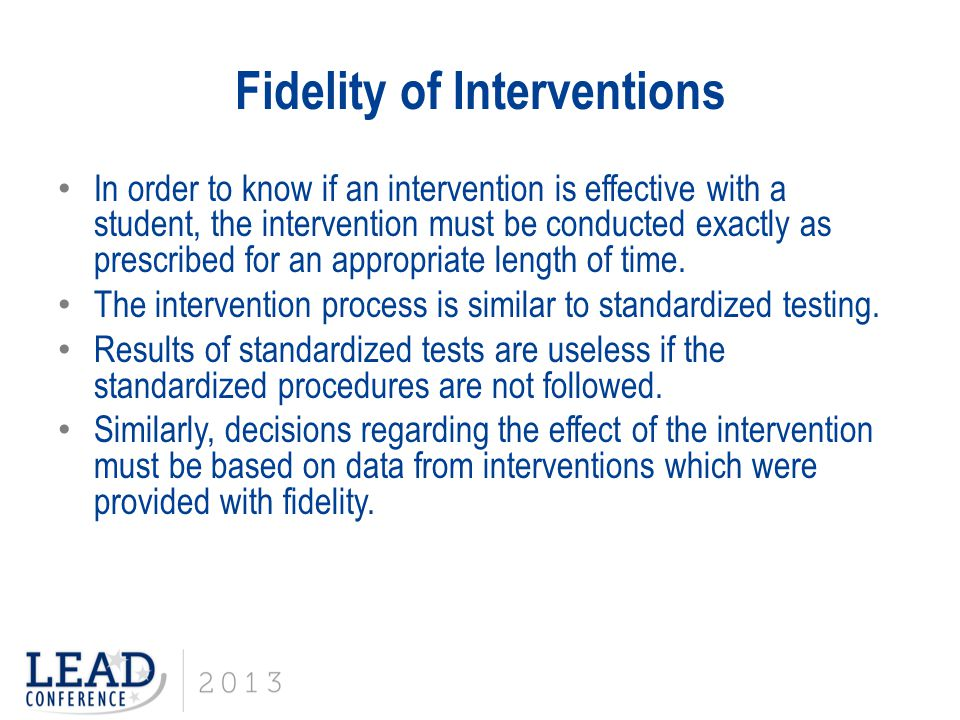 Fidelity of Interventions
