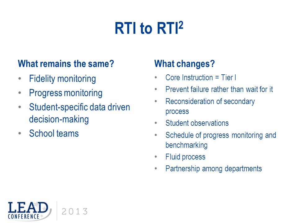 RTI to RTI2 What remains the same What changes Fidelity monitoring
