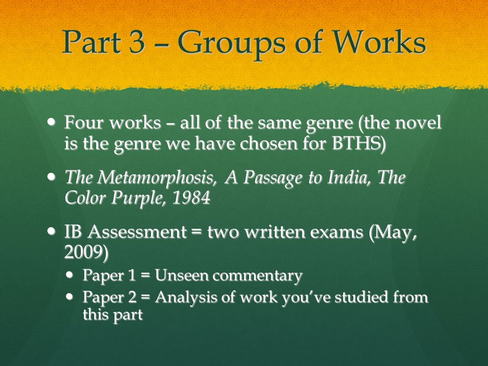 Part 3 – Groups of Works Four works – all of the same genre (the novel is the genre we have chosen for BTHS)