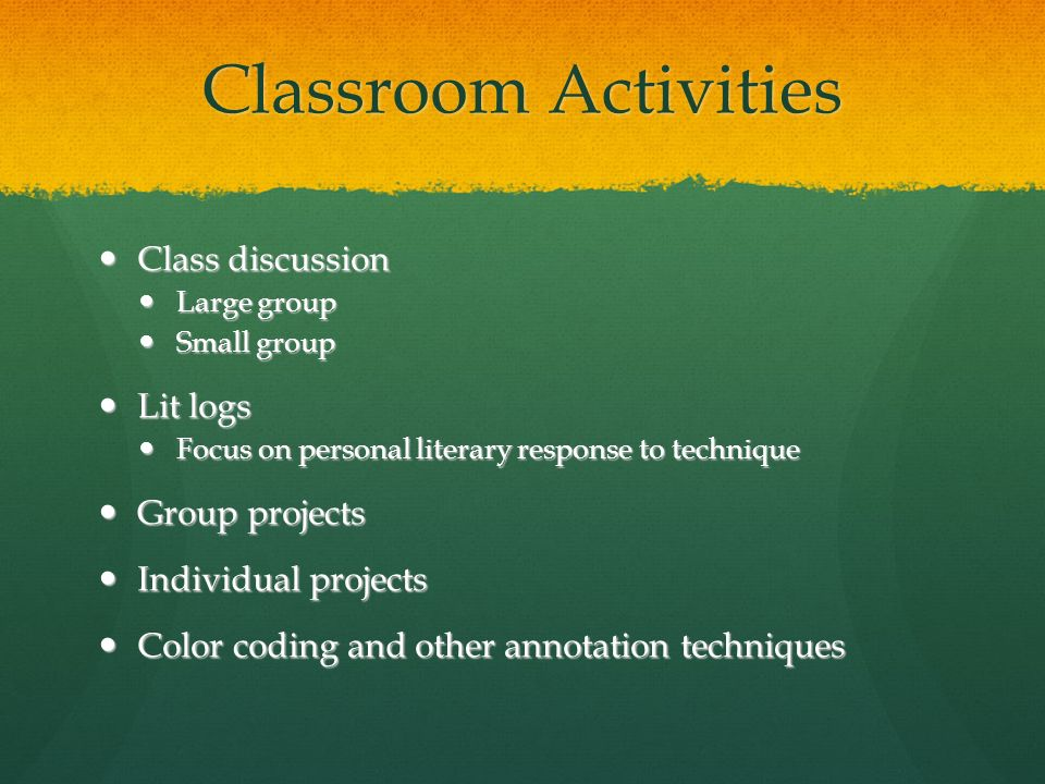 Classroom Activities Class discussion Lit logs Group projects