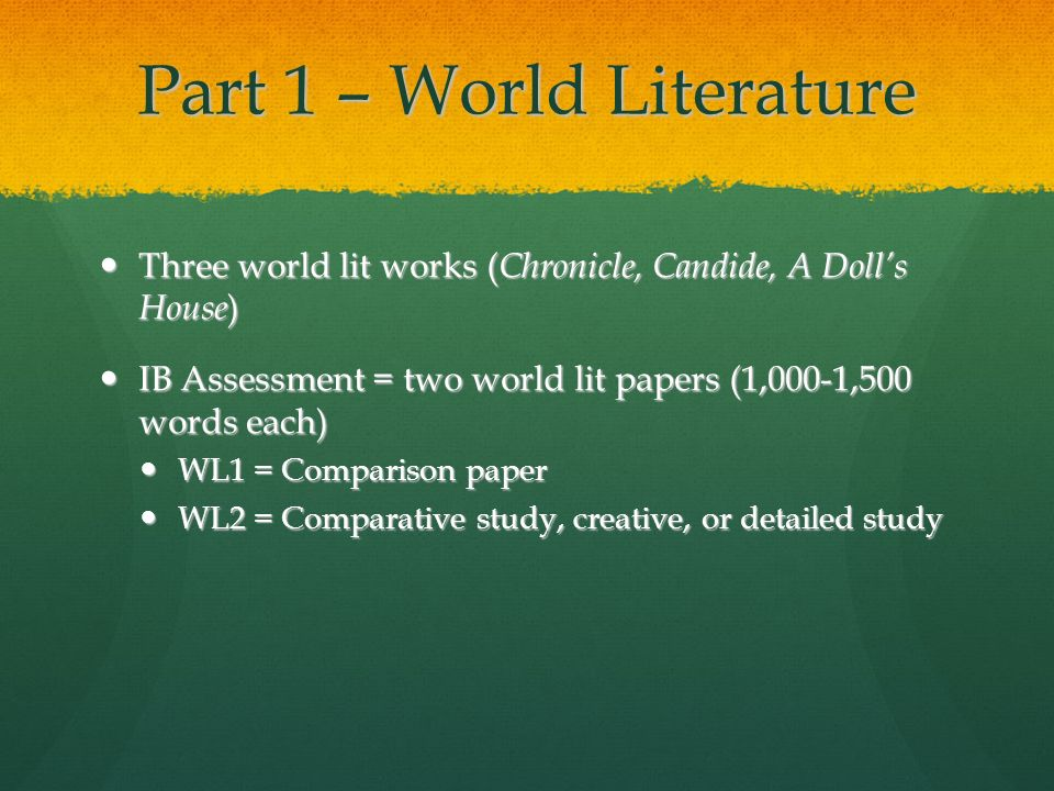 Part 1 – World Literature