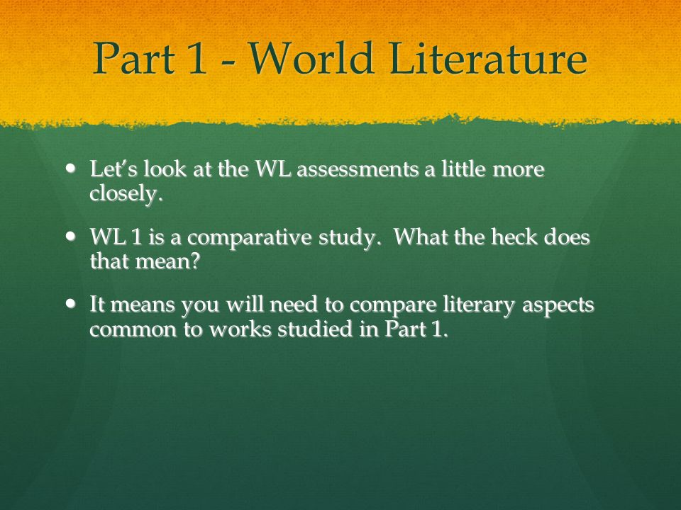 Part 1 - World Literature